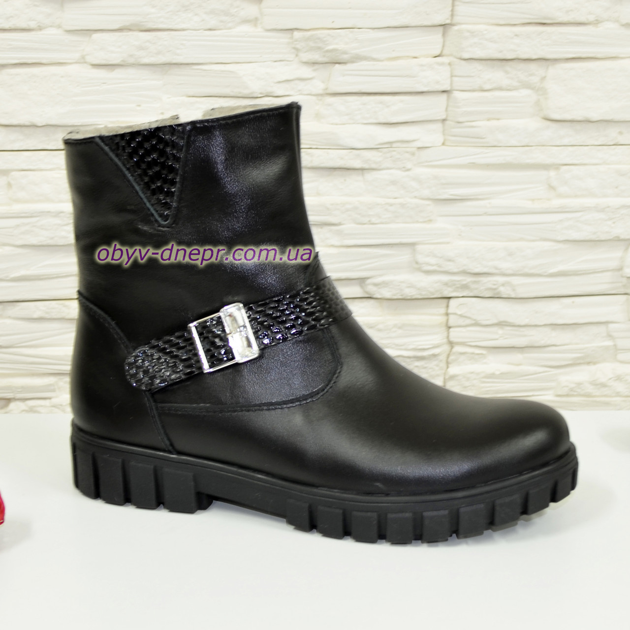 Ботинки кожаные подростковые на утолщённой подошве. Цвет черный.