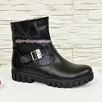 Ботинки кожаные подростковые на утолщённой подошве. Цвет черный., фото 1