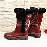 Полусапоги бордовые кожаные для девочек подростковые на утолщённой подошве. , фото 4