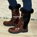 Полусапоги коричневые кожаные для девочек подростковые на утолщённой подошве. , фото 2