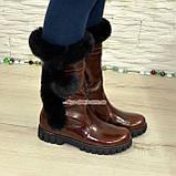 Полусапоги коричневые кожаные для девочек подростковые на утолщённой подошве. , фото 4