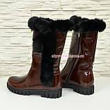 Полусапоги коричневые кожаные для девочек подростковые на утолщённой подошве. , фото 7