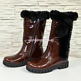 Полусапоги коричневые кожаные для девочек подростковые на утолщённой подошве. , фото 8