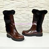 Полусапоги коричневые кожаные для девочек подростковые на утолщённой подошве. , фото 9