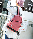 Рюкзак жіночий з замочком навскіс попереду Рожевий, фото 2