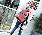 Рюкзак жіночий з замочком навскіс попереду Рожевий, фото 5