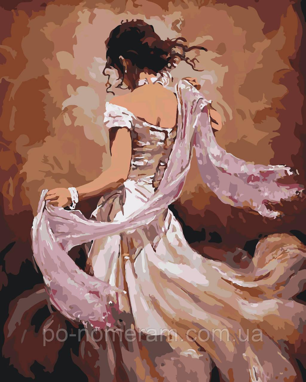 Картина-раскраска Танцовщица в белом платье (KHO2682) 40 х ...