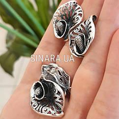 Комплект из серебра Калы: кольцо и серьги без камней серебро