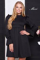 Платье трикотажное стильное, свободное от груди XL + (4 цвета)