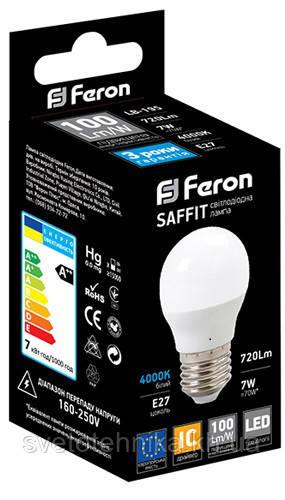 """Светодиодная лампа Feron LB195 E27 7W  2700K типа G45 """"шар"""" для общего и декоративного освещения"""