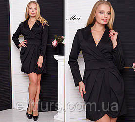 Платье трикотажное элегантное, длинный рукав XL + (3 цвета)
