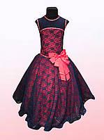 Платье нарядное для девочек с гипюром  1302/5