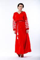 Красное платье отрезного кроя с белой вышивкой, фото 1
