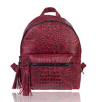 Рюкзак кожаный красный крокодиловый М, фото 1
