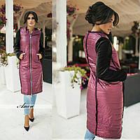 Комбинированное удлиненное пальто в расцветках 440 (137)