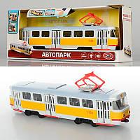 Металлическая модель Трамвая9708-B, 28-10-6см, 1:54, звук (остановки) (рус), светятся фары, двери открываются