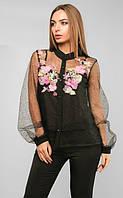 Гипюровая блуза с органзой, нарядная женская блуза