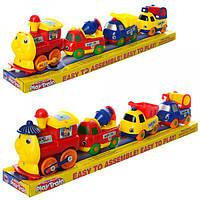 Поезд 18008E  вагоны-стройтехника 3шт, 30см, на бат-ке, в слюде, 34-9-6см