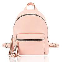 Рюкзак кожаный нежно розовый флатар М, фото 1