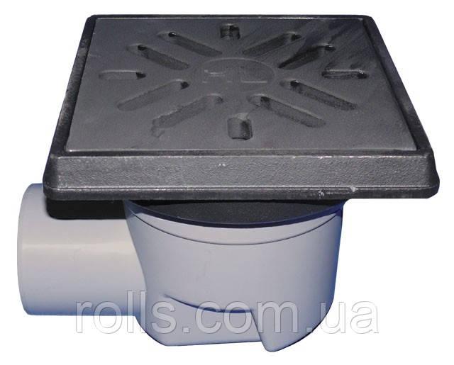 HL605.1W Дворовый трап серии Perfekt DN110 горизонтальный 260х260мм/226х226мм чугун с водяным затвором.