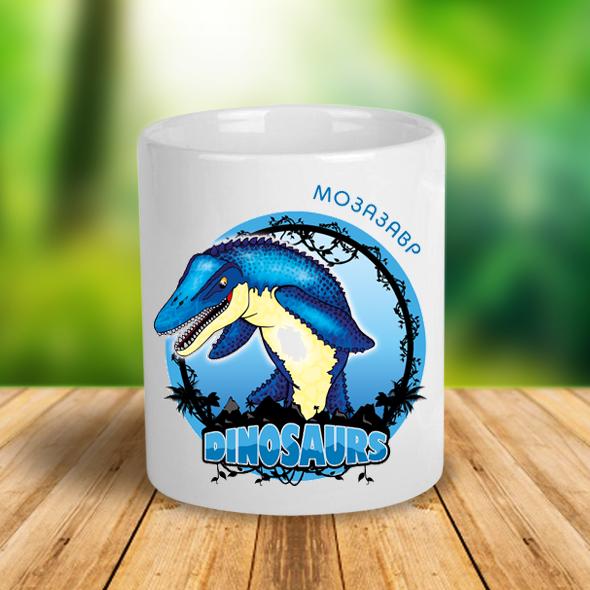 """Керамічна чашка з динозавром """"Мозазавр"""""""