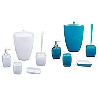 Набор акриловых аксессуаров для ванной (Голубой, белый) Kamille 8012