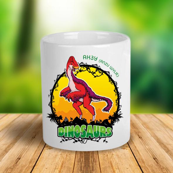 """Керамическая чашка с динозавром  """"Анзу"""""""