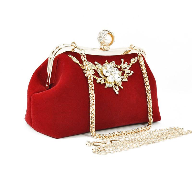 Клатч сумочка вечерняя женская велюровая красная Rose Heart 1752