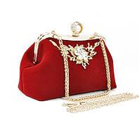 Клатч сумочка вечерняя женская велюровая красная Rose Heart 1752, фото 1