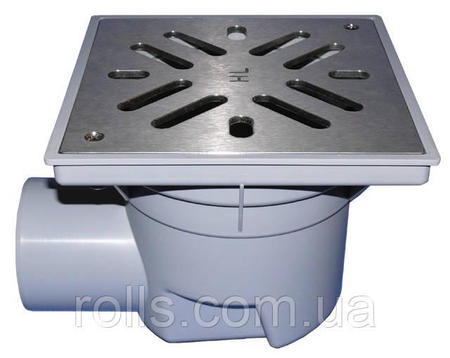 HL605S Дворовый трап Perfekt DN110 гориз., нерж. сталь с морозоустойчивой запахозапирающей заслонкой.