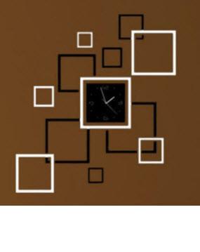 """Годинник дзеркальні """"квадрати дзеркальні чорно-сріблясті"""" , годинник наклейки квадрати"""