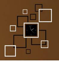 """Часы зеркальные """"квадраты зеркальные черно-серебристые"""" , часы наклейки квадраты"""
