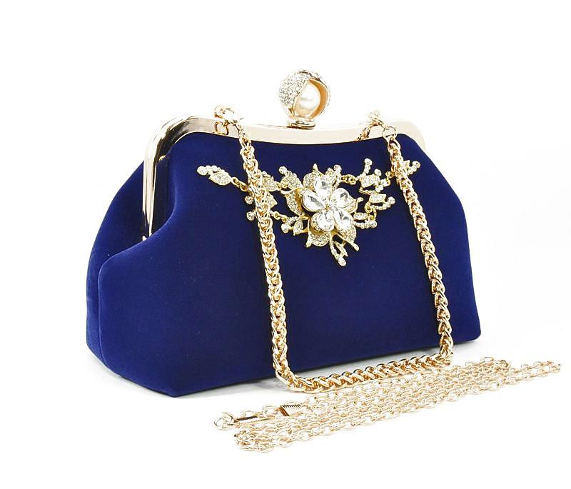 107fdd45005a Клатч сумочка вечерняя женская велюровая синяя Rose Heart 1752 -  Интернет-магазин