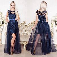 """Платье трансформер вечернее, нарядное синее """"Империя люкс"""""""