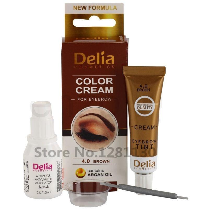 Набор для бровей и ресниц, темно коричневая краска Delia №3 с маслом арганы