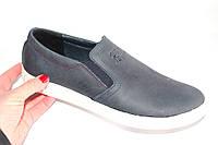 Мужские кожаные слипоны, DS02, цвет серо-синий