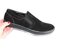 Мужские замшевые слипоны, DS02, цвет черный