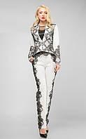 Брючный белый костюм, женский костюм