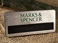 Бейдж на металле с окошком для вкладыша (никель), 65х30 мм (Крепление: Булавка;  Именной: Все бейджи одинаковые;)