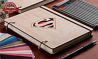 Скетчбук A5 Superman. Блокнот с деревянной обложкой Супермен
