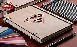 """Блокнот с деревянной обложкой А5 """"Superman!"""""""