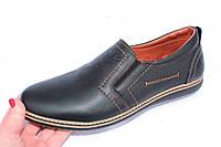 Мужские кожаные туфли, 1018, цвет черный