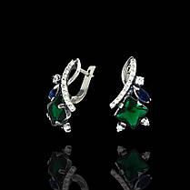 Серебряные серьги со вставками из цветных фианитов, 30 камней, фото 2