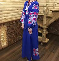 """Вишита сукня """"Сузір*я"""" тканина льон синій"""