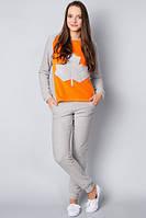 Костюм спортивный женский флисовый серо оранжевый