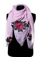 Легкий весенний шарфик для женщин c цветочными нашивками