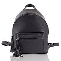 Рюкзак кожаный черный матовый М, фото 1