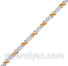 Серебряный браслет женский с золотыми пластинами арт. 30010