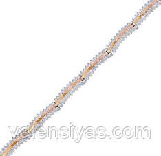Серебряный браслет женский с золотыми пластинами арт. 30025