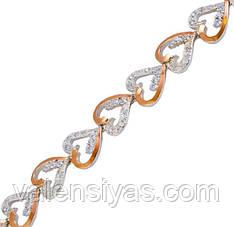 Серебряный браслет женский с золотыми пластинами арт. 30035